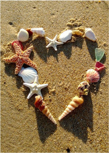 hearts in the sand, beautiful DIY beach decor! www.shellcrafter.com