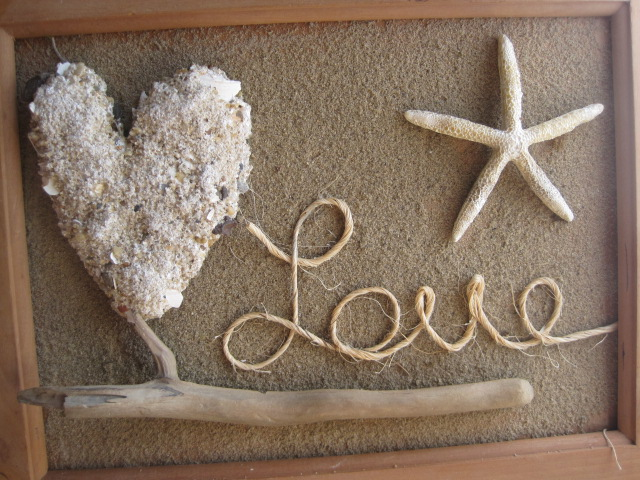 Beautiful beach decor with sand casted heart and sand background with tutorial!